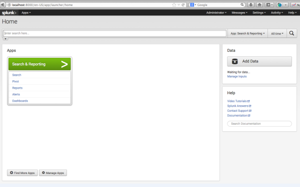 Splunk Home Page_1